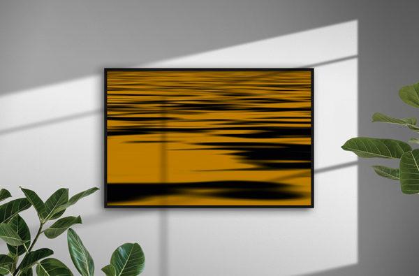 Ramexempel: 0034 Golden Sea - Abstrakt unik svensk konst - Konstnär: Bengt Grönkvist
