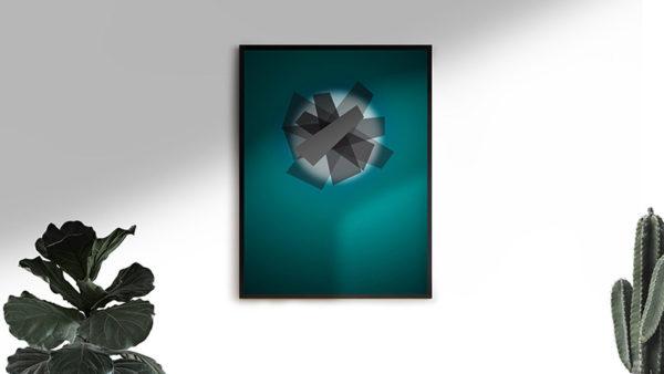 Ramexempel: 0040 Shapes Of Things - Abstrakt unik svensk konst - Konstnär: Bengt Grönkvist