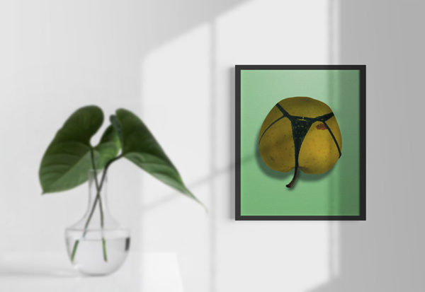 Ramexempel: 0056 Apple on a string - Abstrakt unik svensk konst - Konstnär: Bengt Grönkvist
