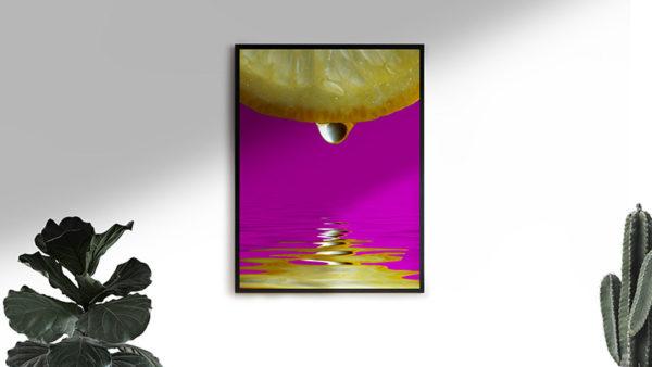 Ramexempel: 0098 Reflecting Lemon - Abstrakt unik svensk konst - Konstnär: Bengt Grönkvist