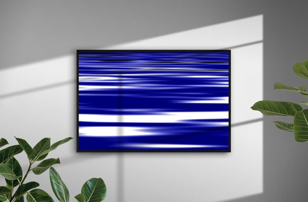 Ramexempel: 0144 Blue Waves - Abstrakt unik svensk konst - Konstnär: Bengt Grönkvist