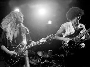 Phil Lynott, John Sykes, Brian Downey. Three Musketeers Tour Folkparksturné i Sverige 1983 Fotograf: Bengt Grönkvist