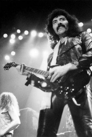 Tony Iommi, Black Sabbath. Johanneshovs isstadion 1983. Fotograf: Bengt Grönkvist.
